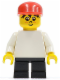 Minifig No: wc027  Name: Timmy - Black Short Legs, Plain White Torso, Red Cap