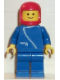 Minifig No: zip005  Name: Jacket with Zipper - Blue, Blue Legs, Red Classic Helmet