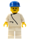 Minifig No: zip010  Name: Jacket with Zipper - White, White Legs, Blue Cap