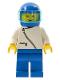 Minifig No: zip011  Name: Jacket with Zipper - White, Blue Legs, Blue Helmet, Trans-Light Blue Visor