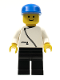 Minifig No: zip017  Name: Jacket with Zipper - White, Black Legs, Blue Cap