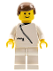 Minifig No: zip019  Name: Jacket with Zipper - White, White Legs, Brown Male Hair