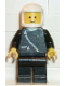 Minifig No: zip021  Name: Jacket with Zipper - Black, Black Legs, White Classic Helmet