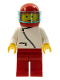 Minifig No: zip023  Name: Jacket with Zipper - White, Red Legs, Red Helmet, Trans-Light Blue Visor