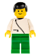 Minifig No: zip035  Name: Jacket with Zipper - White, Green Legs, Black Male Hair