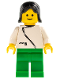 Minifig No: zip036  Name: Jacket with Zipper - White, Green Legs, Black Female Hair
