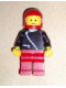 Minifig No: zip041  Name: Jacket with Zipper - Black, Red Legs, Red Classic Helmet