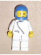 Minifig No: zip043  Name: Jacket with Zipper - White, White Legs, Blue Classic Helmet