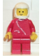 Minifig No: zip045  Name: Jacket with Zipper - Red, Red Legs, White Classic Helmet