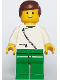 Minifig No: zip046  Name: Jacket with Zipper - White, Green Legs, Brown Male Hair