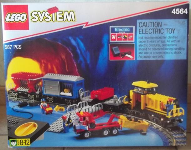 Lego 9V RC train chemin de fer voie ferrée 4564 wagon benne rouge
