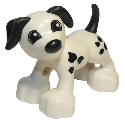 *NEW* Lego Duplo Animal WHITE Dog BLACK EARS SPOTS TAIL