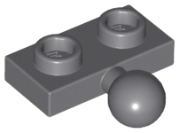 LEGO® Dark Gray Plate 1 x 2 with Towball Design ID 14417