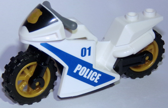 Lego Motorcycle Sport Bike Complete Assembly with Black Windshield with  Gold Badge Pattern and Pearl Gold