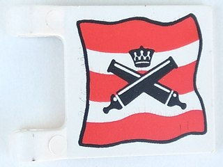 LEGO Lot of 2 White 2x2 Pirates Cross Cannons Decorated Flags