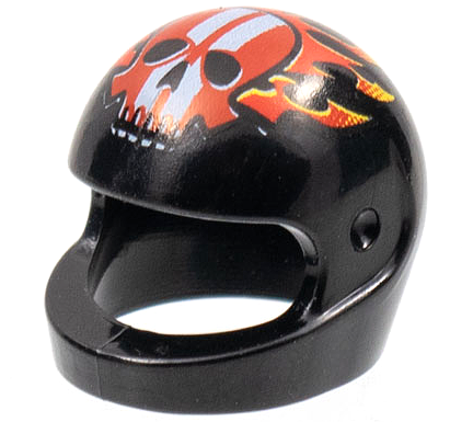 LEGO Helmet x1 Black Flames Red Skull White Stripes Motorbike Motorcycle Racers
