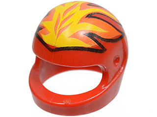 Headgear Helmet Standard with Flames Yellow and Red Pattern LEGO White Minifig