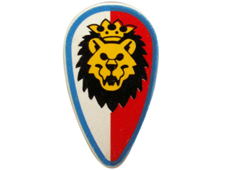 NEW LEGO MINIFIG ACCESSORY Shield Ovoid with Gold Lion on Red and White   CASTLE