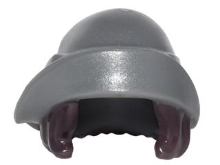 LEGO Minifigure DARK GRAY Headgear Hat w Hair Combo Soft Folded Brim