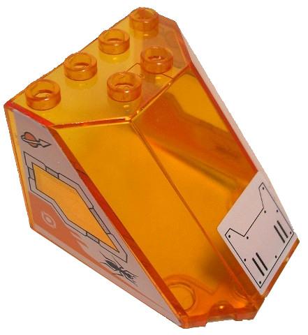 Lego 1 x Cockpit  Windschutz 30251pb03 transparent orange S5x4x3 Sticker 7648