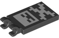 2 NEW LEGO Tile,Modified 2 x 3,2 Clips,Crossbones Minecraft Pattern Black