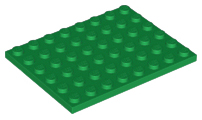 LEGO 30 X PIASTRA 1x6 VERDE GREEN BASIC Plate 3666 366628