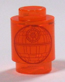 Round 1 x 1 Open Stud with SW Death Star Pattern trans Star Wars LEGO x 4 Brick