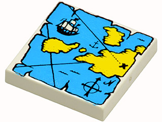 LEGO NEW 2x2 White Tile with Map Decoration 5x 6213386 Brick 36724
