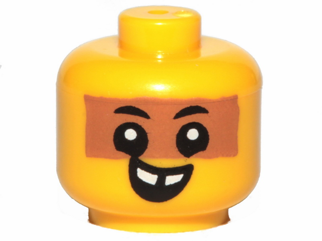 fb221e5ca BrickLink - Part 33464pb04 : Lego Minifigure, Baby / Toddler Head with  Neck, Black Eyes, White Pupils, Medium Dark Flesh Band and Smile with Teeth  Pattern ...