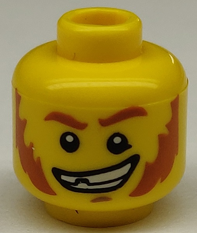 ☀️NEW Lego Minifigure Head Red Eyebrows /& Sideburns Broken Tooth Determined Grin