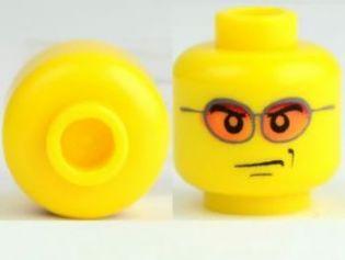 LEGO NEW DARK FLESH MINIFIGURE HEAD WITH ORANGE SUN GLASSES FIGURE PIECE
