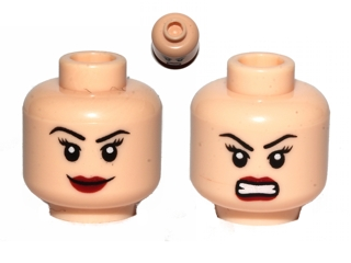 Head Female Eyelashes and Red Lips Determined // Angry Pattern LEGO Minifig