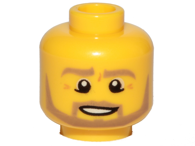 45d981212 BrickLink - Part 3626cpb0849 : Lego Minifigure, Head Beard Dark Tan  Angular, Pupils, Bottom Eye Lid Line, Teeth Pattern - Hollow Stud [ Minifigure, ...