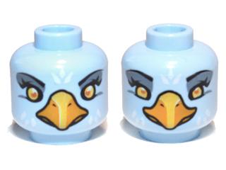 LEGO Minifigure Head LIGHT BLUE Dual Sided Alien Chima Eagle with Beak Bird
