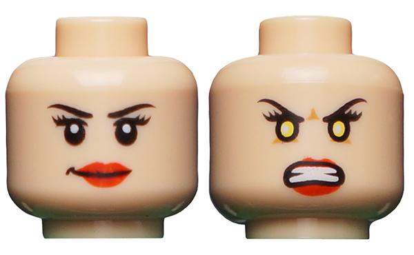 LEGO Minifigure Head LIGHT FLESH Female Dual Light Brown Lips Smile Angry