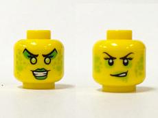 LEGO Green Eye Shadow Pattern Minifig Head Female with Black Lips