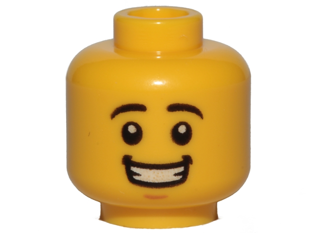 67e22495c BrickLink - Part 3626cpb1569 : Lego Minifigure, Head Black Eyebrows, White  Pupils, Chin Dimple, Open Mouth Smile with Teeth Pattern - Hollow Stud ...