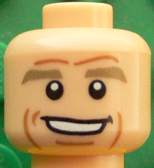 Lego Yellow Minifig Head Black Eyebrows Cheek Dimples White Pupils Open Smile