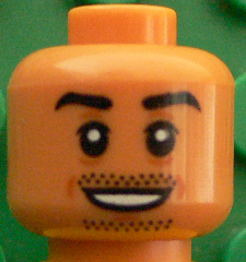 Lego Head Moustache and Stubble Pattern Eyebrows White Pupils