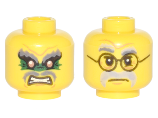 LEGO Yellow Minfiigure Head with Black Glasses and Green Eyes Pattern
