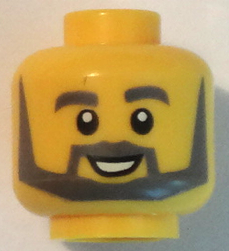 cc901c17d BrickLink - Part 3626cpb2199 : Lego Minifigure, Head Beard with Thick Gray  Eyebrows, Angular Beard, Open White Mouth, White Pupils Pattern - Hollow  Stud ...