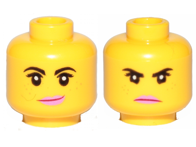 Bricklink Part 3626cpb2271 Lego Minifigure Head Dual Sided Female Black Eyebrows Freckles Eyelashes Pink Lips Smile Angry Pattern Lucy Wyldstyle Hollow Stud Minifigure Head Bricklink Reference Catalog