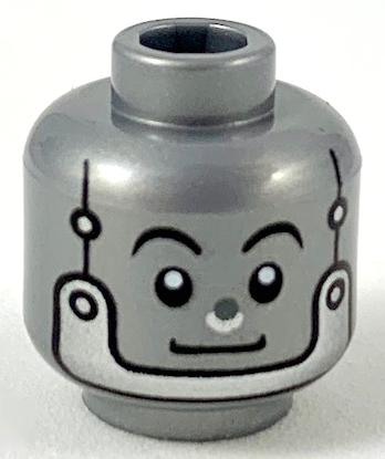 Lego New Flat Silver Minifigure Head Alien Black Eyebrow Silver Nose