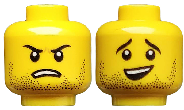 LEGO Yellow Minifig Head Stubble and Open Mouth