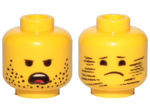 37002ae91 BrickLink - Part 3626cpb2410 : Lego Minifigure, Head Dual Sided Stubble,  Angry / Stubble Blurred, Sad Pattern (Emmet) - Hollow Stud [Minifigure, ...