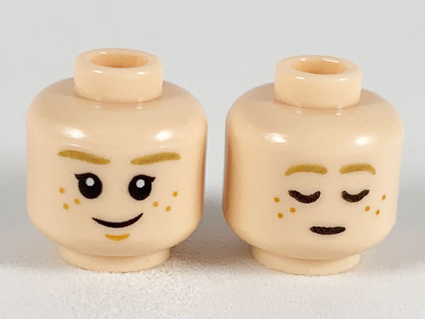 Lego New Yellow Minifigure Head Dual Sided Female Smile Freckles Sleeping