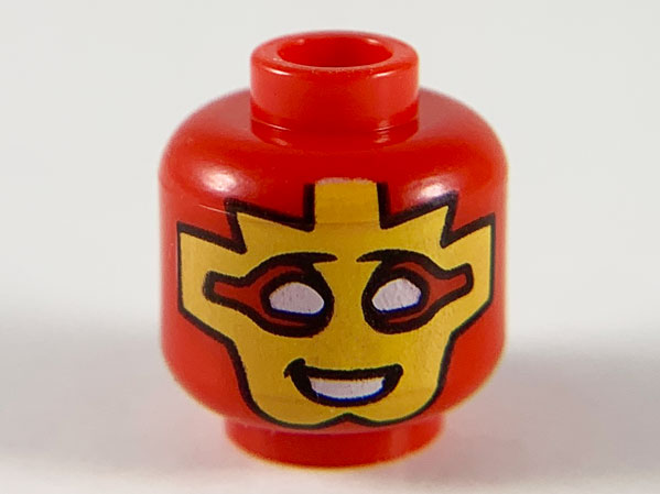 LEGO RED MINIFIGURE HEAD WHITE WITH MASK