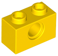 LEGO PART 3700 TECHNIC BRICK 1 X 2 WITH HOLE YELLOW 15 PIECES