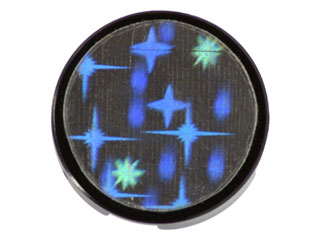 LEGO Lot of 2 Black 2x2 Round Holographic Star Sticker Tiles