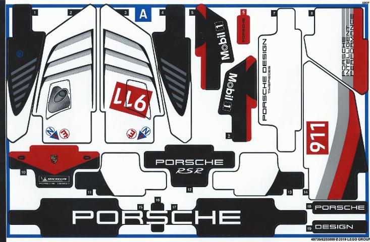 Lego Porsche Sticker Set Porsche Car
